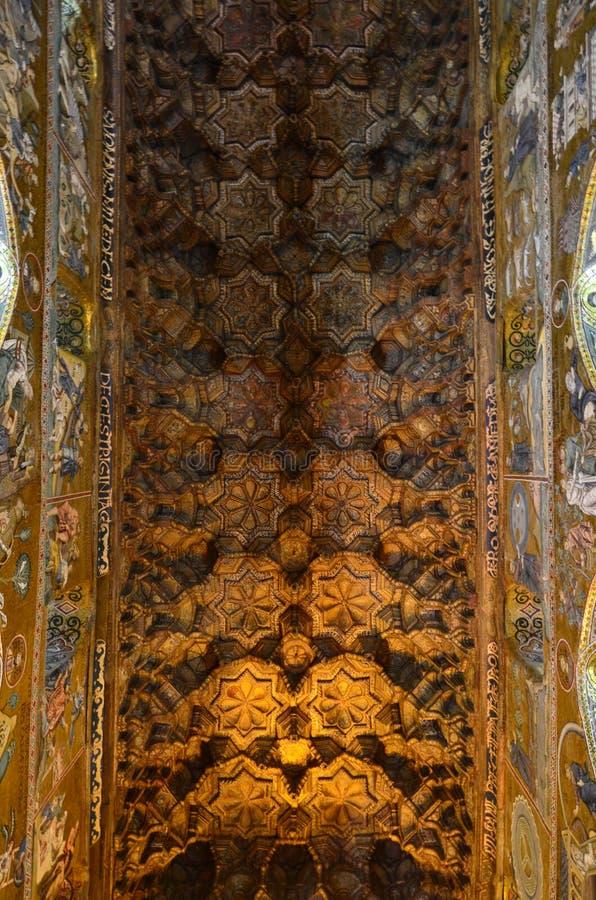 Intérieur de la Capella Palatina dans le dei de Palazzo Normanni Norman Palace - Palerme - Sicile - Italie photo libre de droits