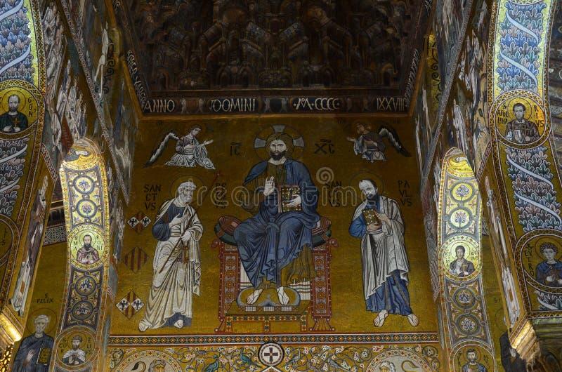 Intérieur de la Capella Palatina dans le dei de Palazzo Normanni Norman Palace - Palerme - Sicile - Italie photographie stock libre de droits