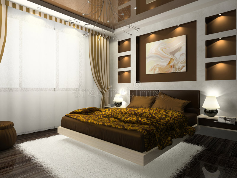Intérieur de la chambre à coucher illustration libre de droits