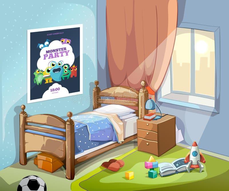 Intérieur de la chambre à coucher des enfants dans le style de bande dessinée illustration stock