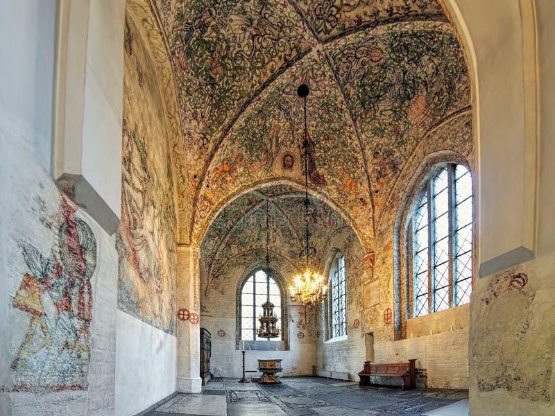 Intérieur de la chapelle des marchands à l'église de St Peter à Malmö, Suède photographie stock