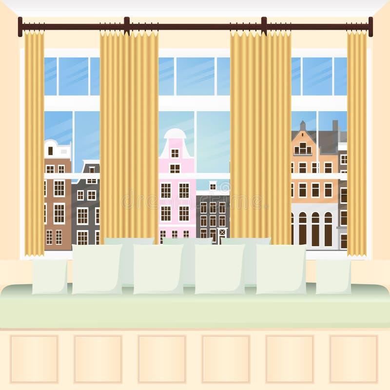 Intérieur de la fenêtre en saillie illustration de vecteur