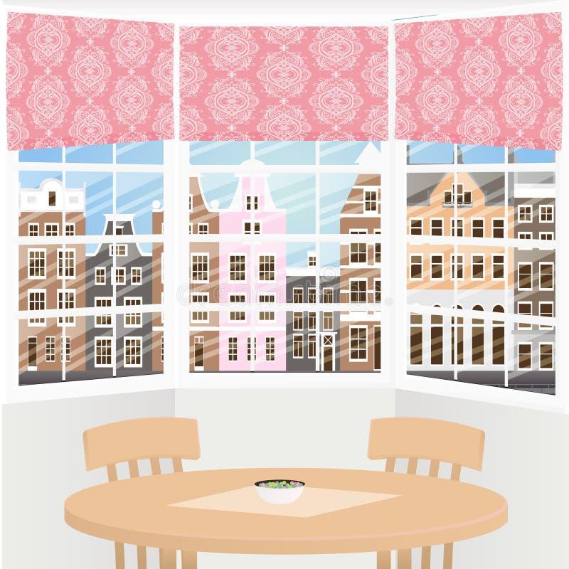 Intérieur de la fenêtre en saillie illustration libre de droits