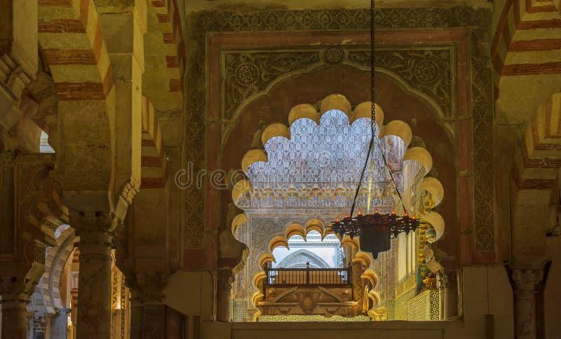 Intérieur de la Mezquita-Catedral à Cordoue, Espagne photos stock