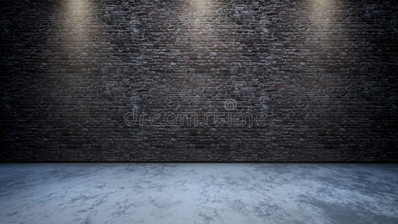intérieur de la pièce 3D avec le mur de briques avec des projecteurs brillant vers le bas illustration libre de droits