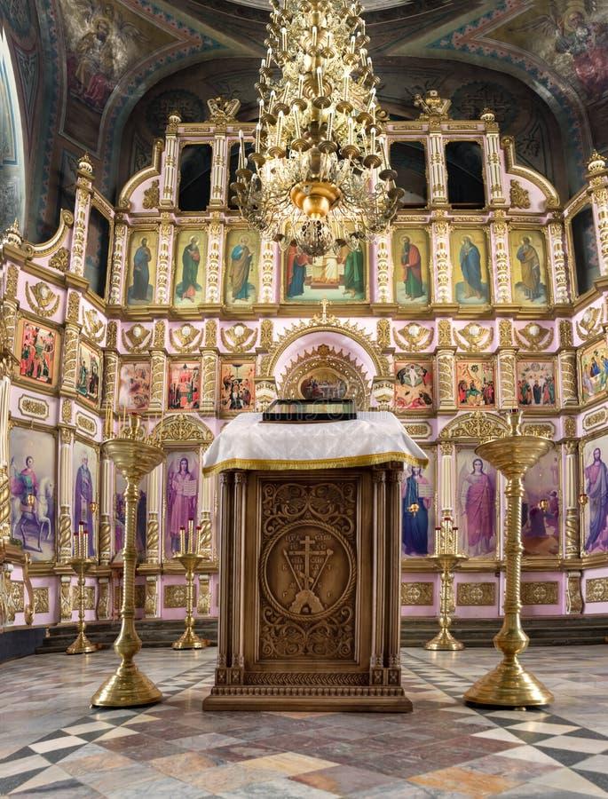 Intérieur de la Russie, Riazan le 8 février 2019 - de l'église orthodoxe, autel, iconostase, dans la lumière naturelle images stock