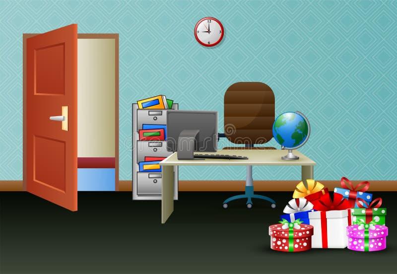 Intérieur de la salle de bureau avec pile de cadeaux sur la table illustration stock