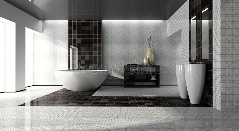 Intérieur de la salle de bains moderne 3D illustration de vecteur