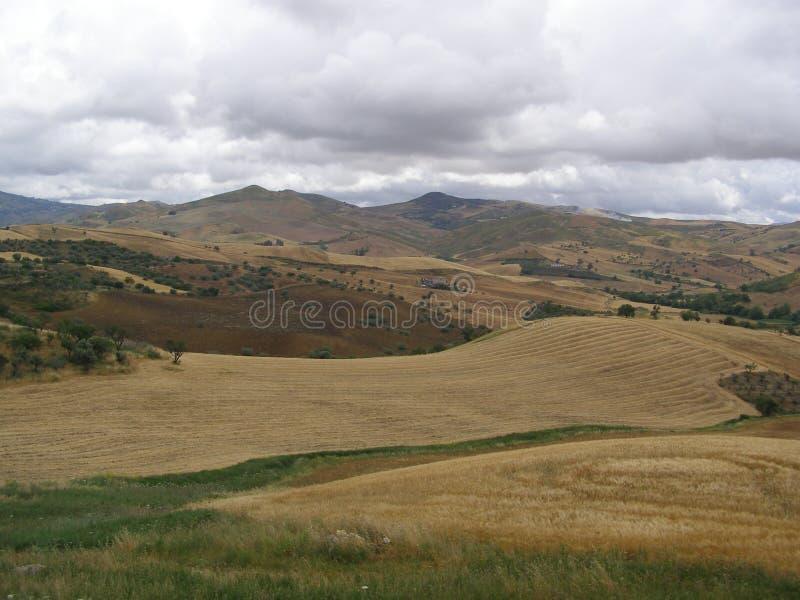 Intérieur de la Sicile de train Palerme-Agrigente images stock
