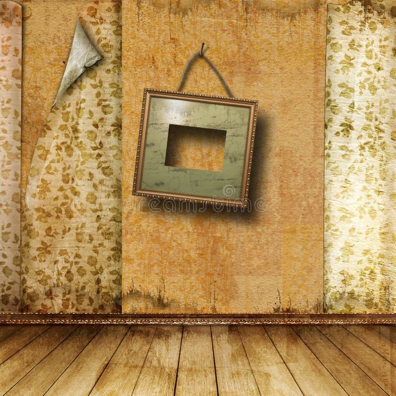 Intérieur de la vieille salle avec d'anciens restes de luxe photo stock