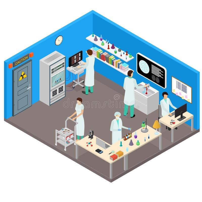 Intérieur de laboratoire de la Science avec la vue isométrique de meubles Vecteur illustration stock