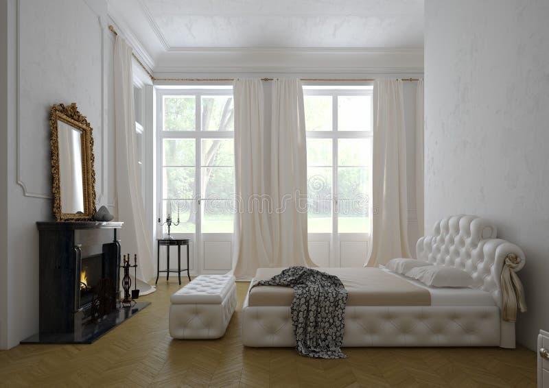 Intérieur de luxe moderne de chambre à coucher rendu 3d illustration de vecteur