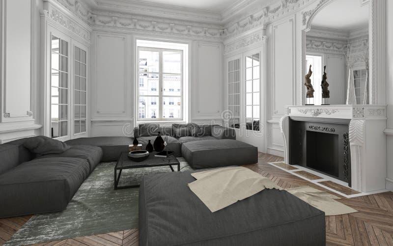 Intérieur de luxe de salon d'appartement illustration libre de droits