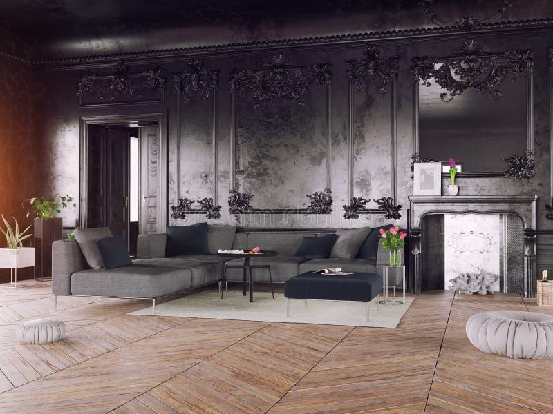 Intérieur de luxe de style noir illustration de vecteur