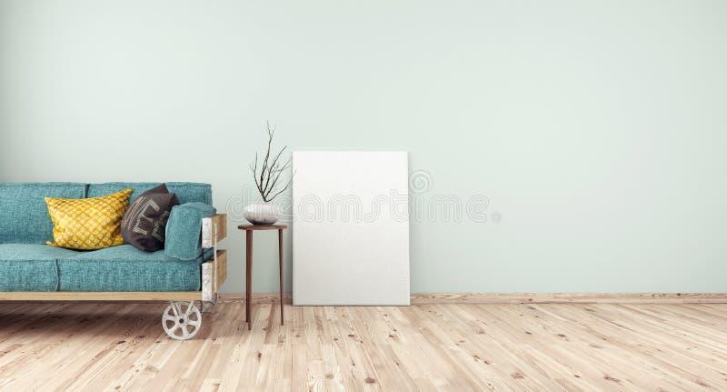 Intérieur de maison avec le cadre vide de l'espace et de blanc illustration de vecteur