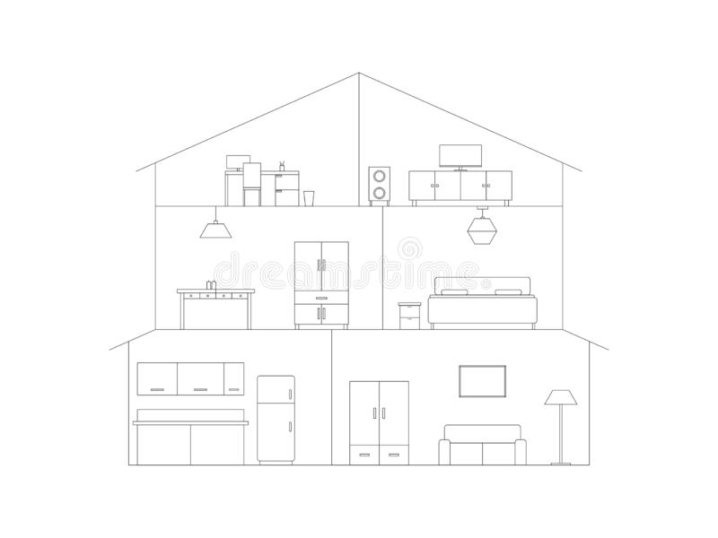 Intérieur de maison de coupe-circuit illustration libre de droits