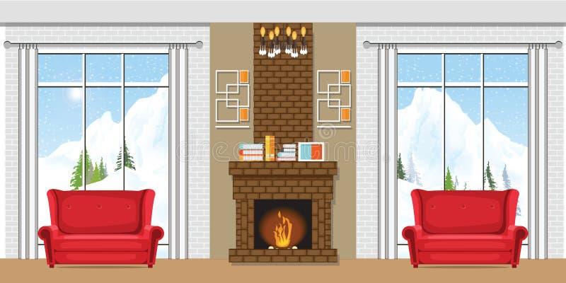 Intérieur de maison d'hiver avec une cheminée illustration stock
