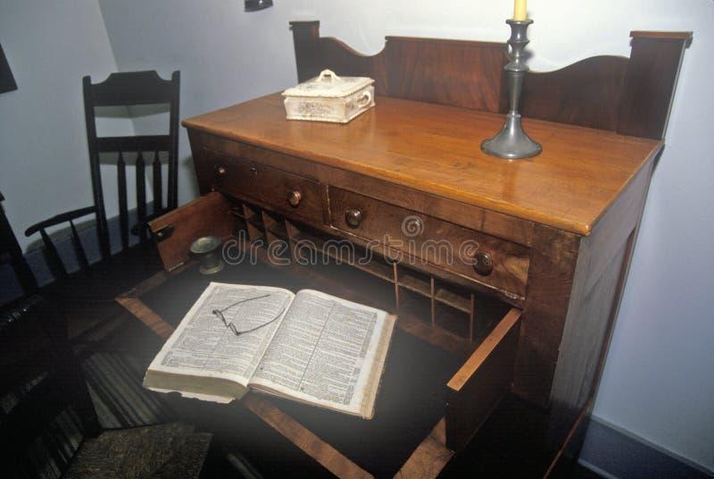 Intérieur de maison de Joseph Smith, fondateur d'église mormone dans le Palmyra, NY images libres de droits