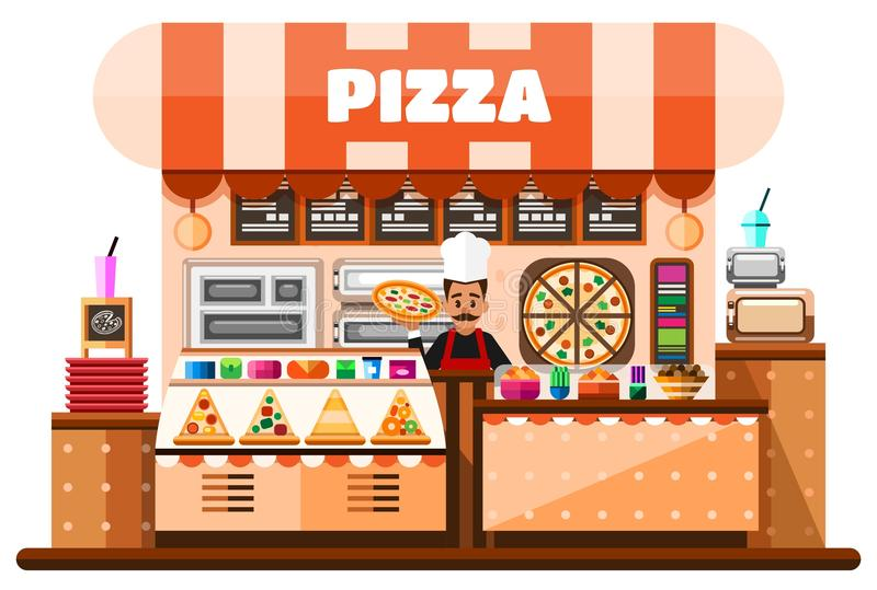 Intérieur de maison de pizza avec le pizzaiolo italien tenant la pizza chaude et la position derrière des bureaux contre- avec la illustration stock