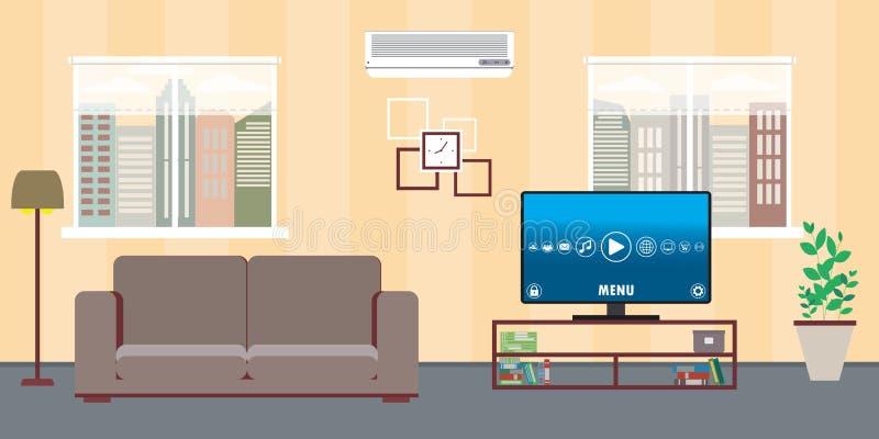 Intérieur de maison de salon avec deux condi de fenêtres, de sofa, de TV et d'air illustration de vecteur