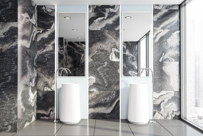 Intérieur de marbre noir de salle de bains, double évier illustration de vecteur