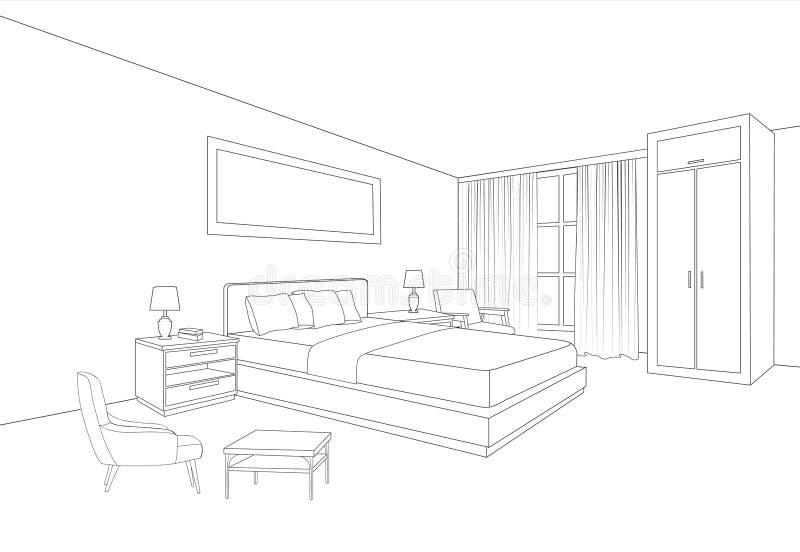 Intérieur de meubles de chambre à coucher Ligne dessin de pièce de croquis illustration stock