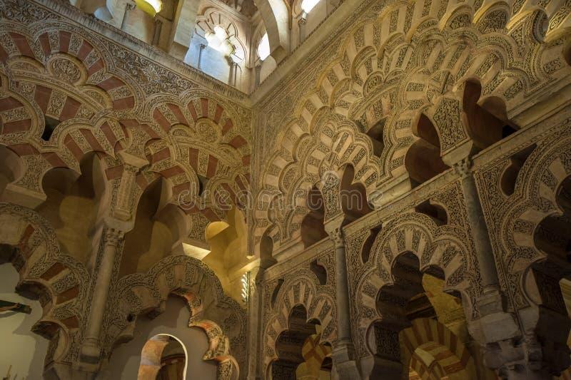 Intérieur de Mezquita-Catedral, Cordoue, Espagne photos stock