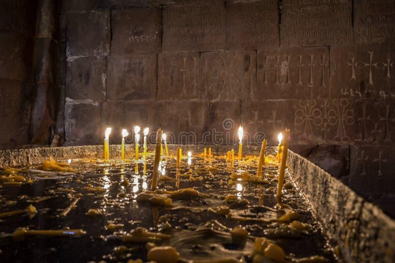 Intérieur de monastère célèbre Noravank, Arménie d'endroit image libre de droits