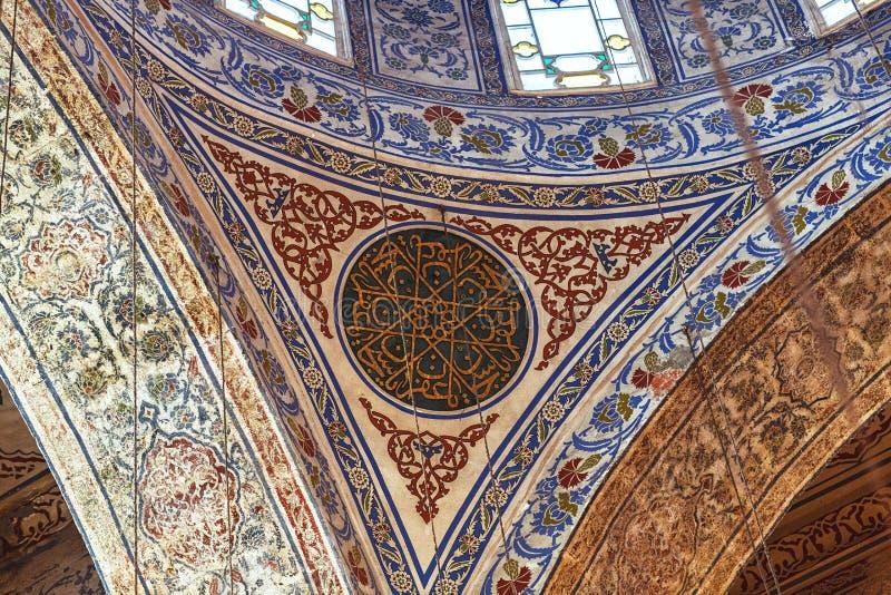 Intérieur de mosquée bleue images libres de droits