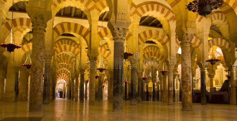 Intérieur de mosquée, Cordoue, Andalousie, Espagne image libre de droits