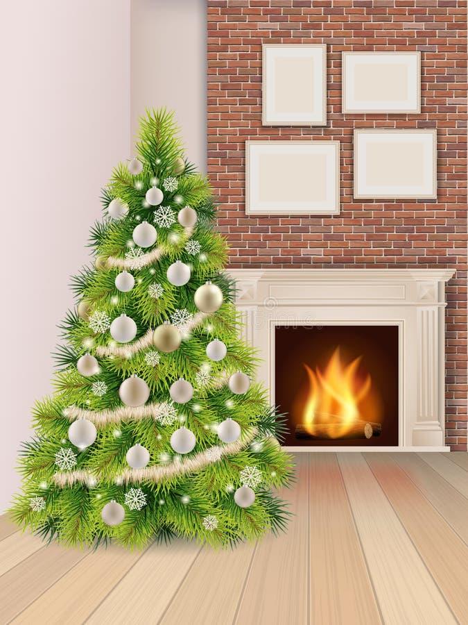 Intérieur de Noël avec l'arbre et la cheminée de Noël illustration de vecteur
