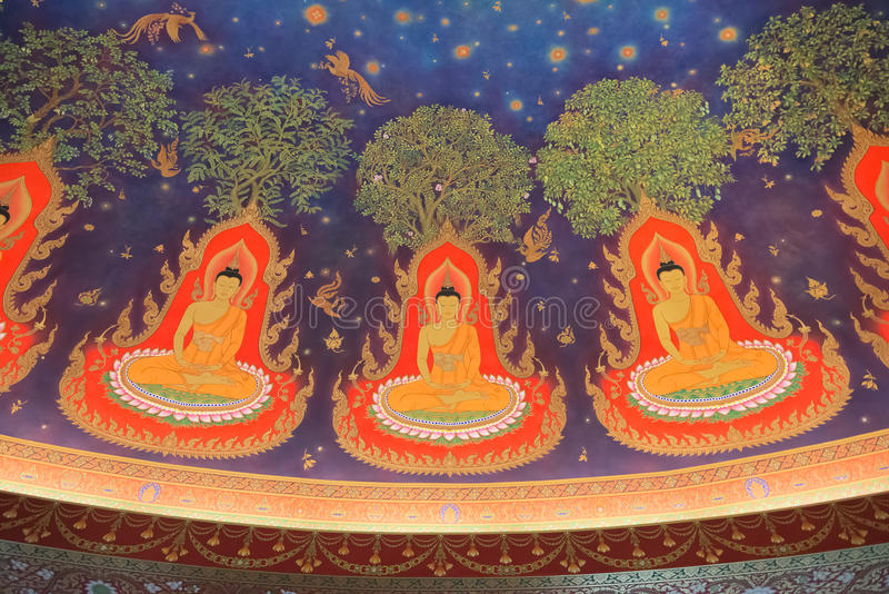 Intérieur de peinture de Buddhas en Wat Paknam, Thaïlande images libres de droits