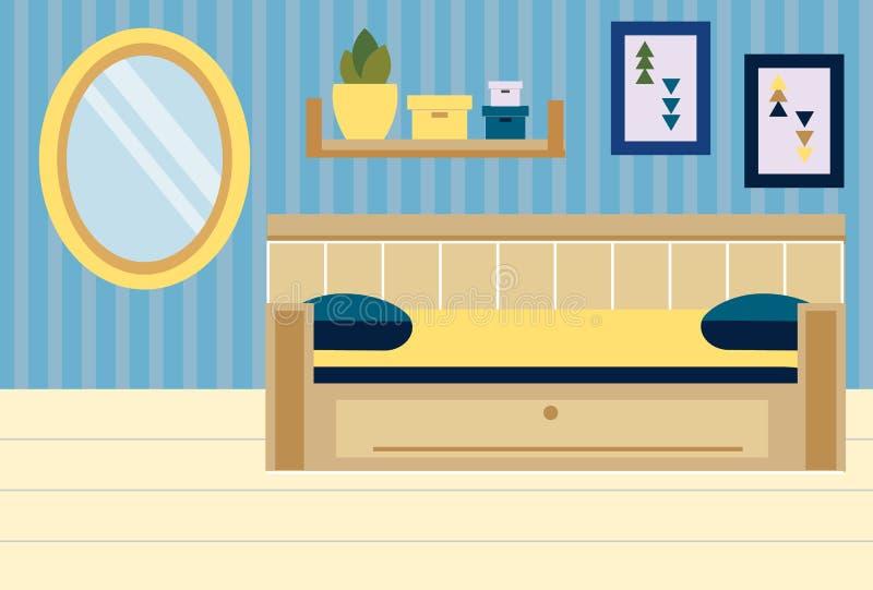 Intérieur de pièce Appartement dans des couleurs bleues et jaunes Conception de chambre à coucher avec le sofa, étagères, miroir illustration stock