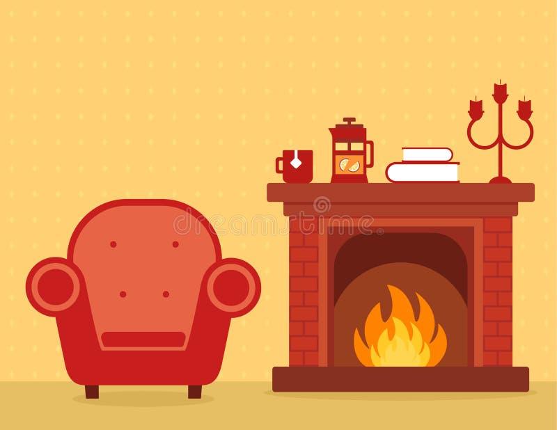 Intérieur de pièce avec la cheminée et le fauteuil illustration stock