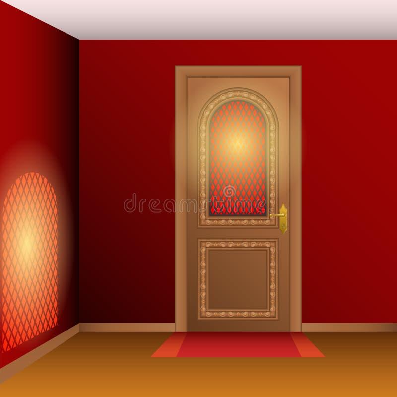 Intérieur de pièce avec la porte illustration de vecteur