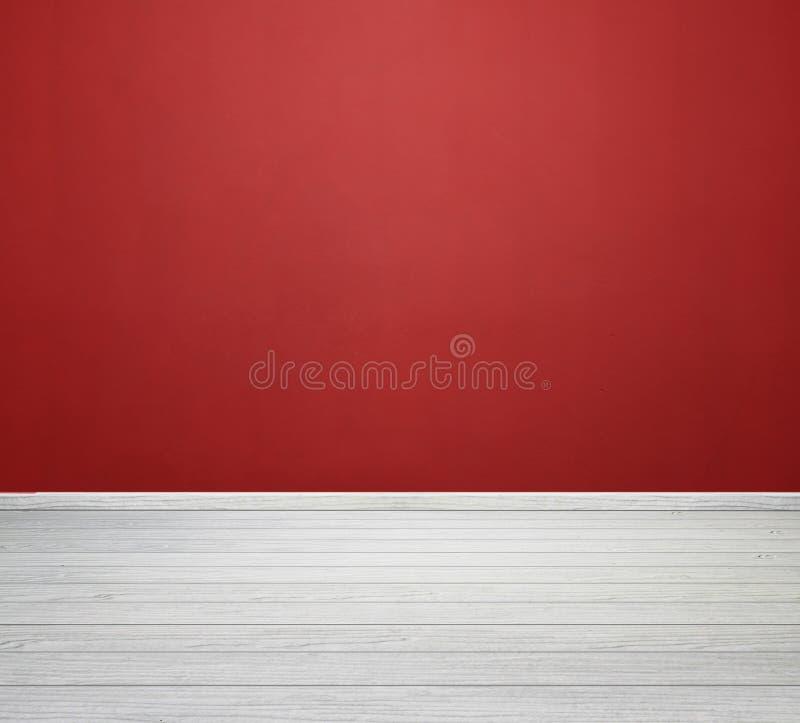 Intérieur de pièce avec le mur en béton rouge et le plancher en bois blanc image stock