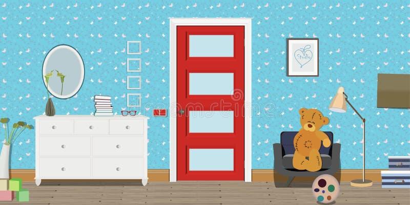 Intérieur de pièce de bébé Conception plate Pièce de bébé avec une commode, porte rouge, jouets, morceau Children& x27 ; pièce de illustration de vecteur