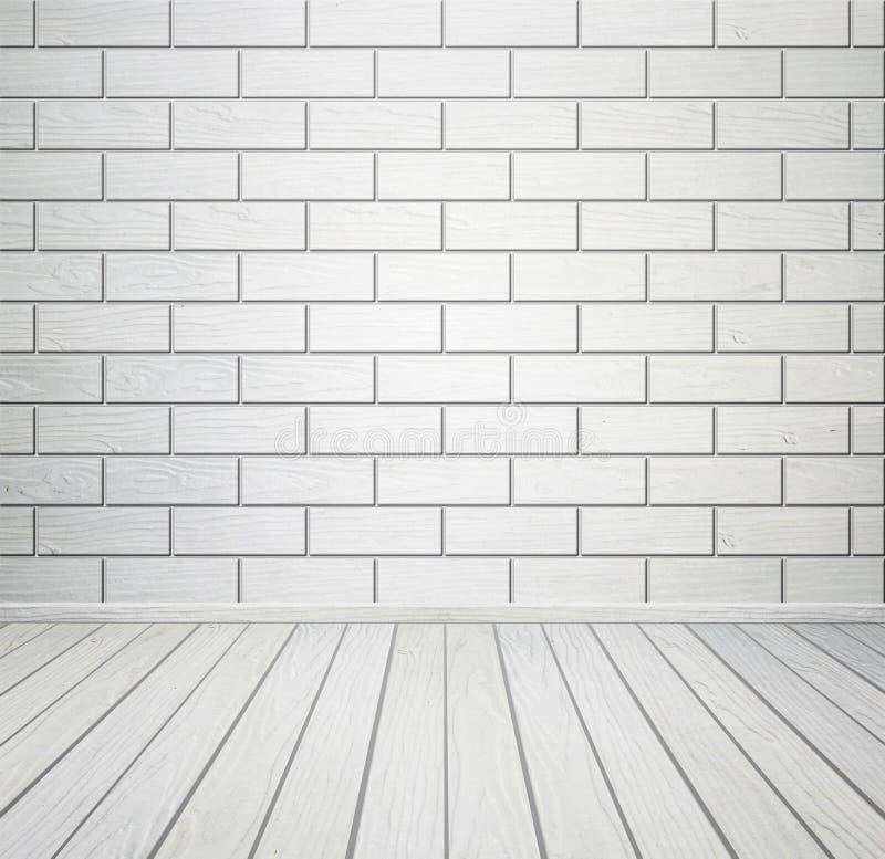 Intérieur de pièce blanche avec le plancher de mur de briques et en bois photo stock