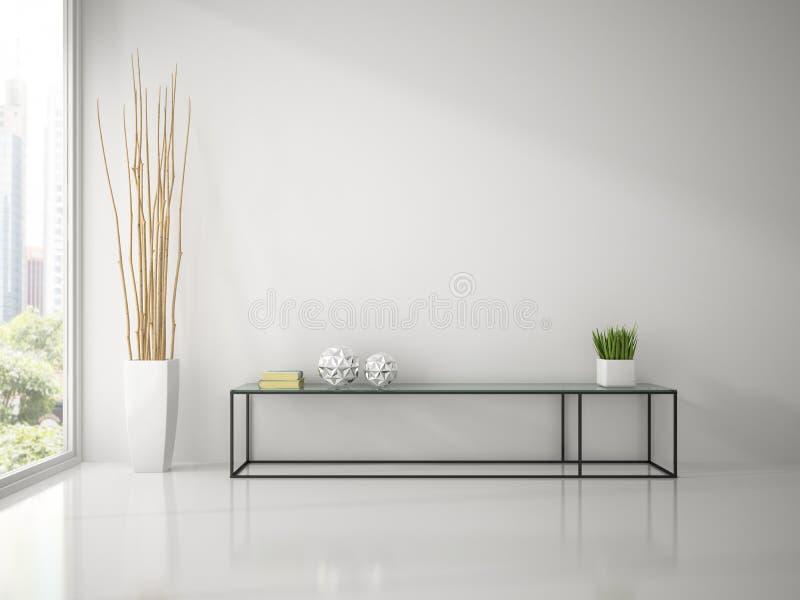 Intérieur de pièce blanche moderne avec le rendu du sofa 3D de console illustration libre de droits