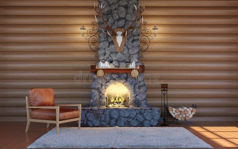 Intérieur de pièce dans le bâtiment de carlingue de rondin avec la cheminée en pierre et le rétro fauteuil en cuir illustration libre de droits