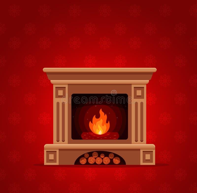 Intérieur de pièce de cheminée de Noël illustration libre de droits