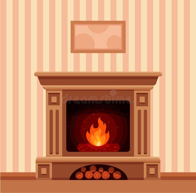 Intérieur de pièce de cheminée de Noël illustration de vecteur