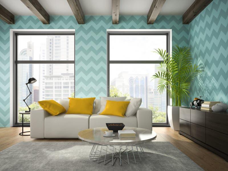 Intérieur de pièce de conception moderne avec le rendu bleu du papier peint 3D photos stock