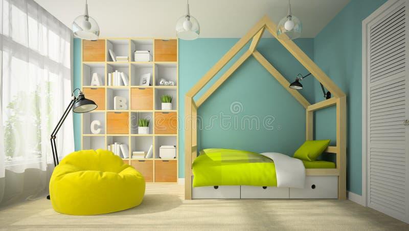 Intérieur de pièce de conception moderne avec le rendu original du lit 3D illustration stock