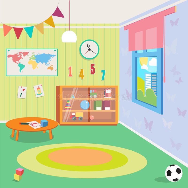 Intérieur de pièce de jardin d'enfants avec des jouets illustration stock
