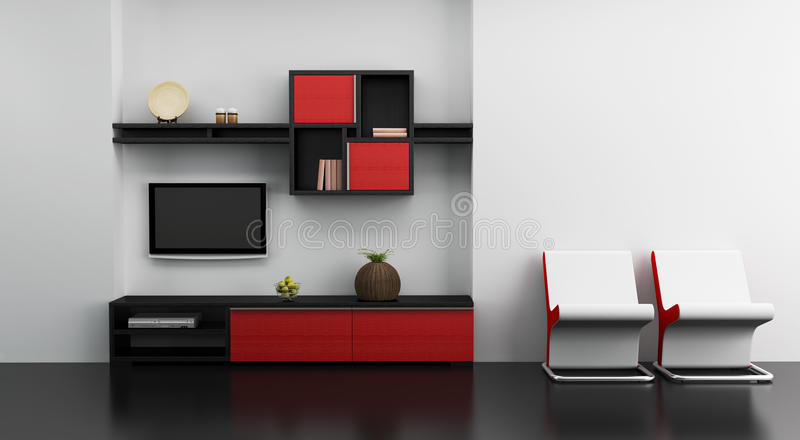 Intérieur de pièce de salon avec l'étagère et la TV illustration de vecteur