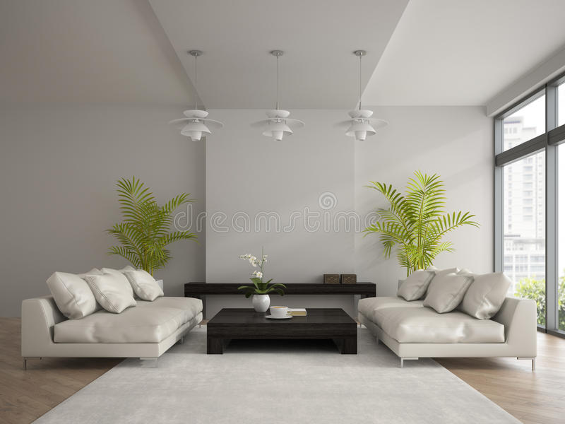 Intérieur de pièce moderne avec deux le rendu blanc des sofas 3D illustration stock