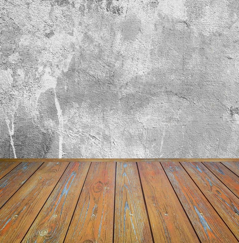 int rieur de pi ce mur gris de ciment avec le plancher en bois brun photo stock image du. Black Bedroom Furniture Sets. Home Design Ideas