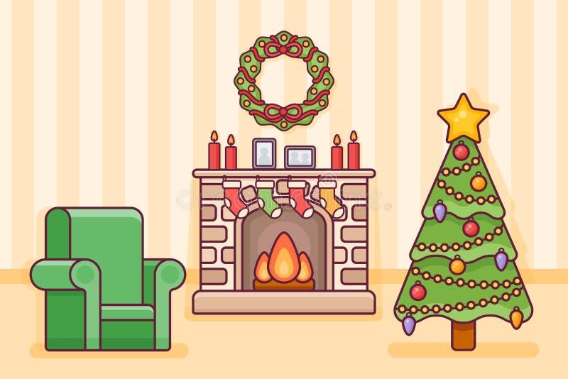 Intérieur de pièce de Noël avec la cheminée, l'arbre, les chaussettes et le fauteuil Illustration de vecteur illustration libre de droits