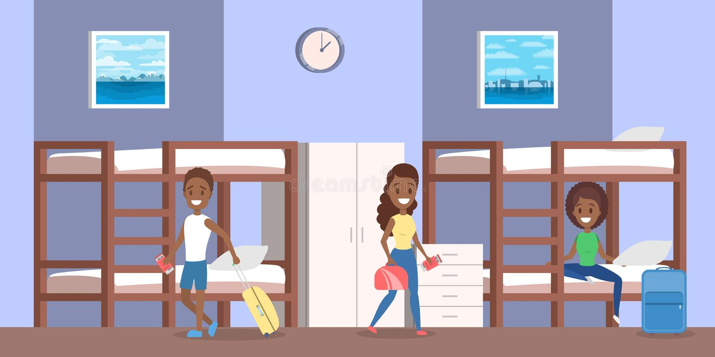 Intérieur de pièce de pension avec des personnes à l'intérieur d'illustration illustration stock